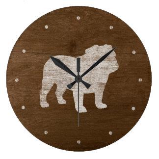 Relógio Grande Silhueta do buldogue