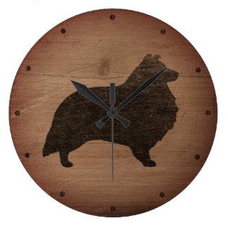 Relógio Grande Silhueta do Sheepdog de Shetland rústica
