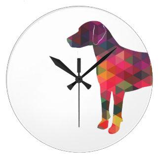 Relógio Grande Silhueta geométrica colorida do teste padrão do