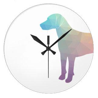 Relógio Grande Silhueta geométrica do cão de cão do lebreiro do