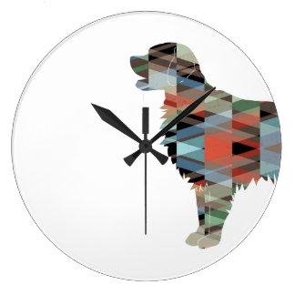 Relógio Grande Silhueta geométrica do Retriever Liso-Revestido -