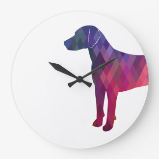 Relógio Grande Silhueta geométrica do teste padrão do cão de cão