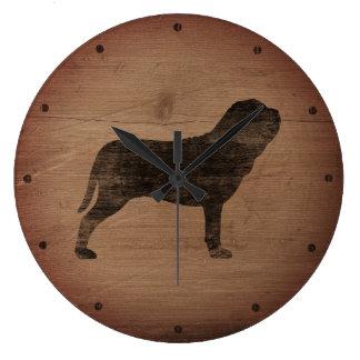 Relógio Grande Silhueta napolitana do Mastiff rústica