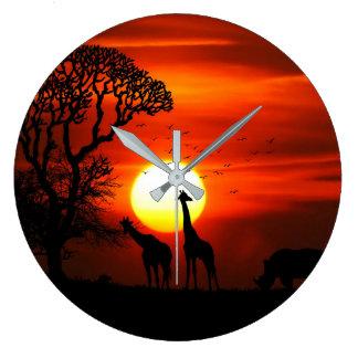 Relógio Grande Silhuetas africanas do animal do por do sol do