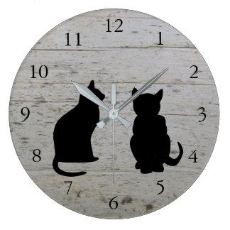 Relógio Grande Silhuetas modernas do gato, animais de estimação