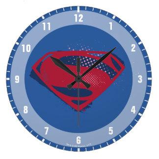 Relógio Grande Símbolo do superman da escova & da reticulação da