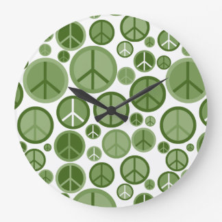 Relógio Grande Símbolos de paz Groovy legal do verde prudente