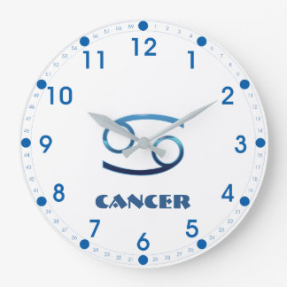 Relógio Grande Sinal azul do zodíaco do cancer no branco
