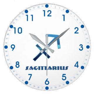Relógio Grande Sinal azul do zodíaco do Sagitário no branco