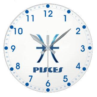 Relógio Grande Sinal azul do zodíaco dos peixes no branco