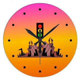 Relógio Grande Sinal de trânsito com coelhos, fundo sonhador