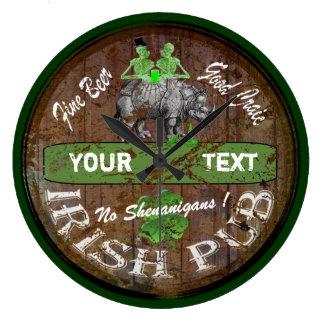 Relógio Grande Sinal irlandês personalizado do bar
