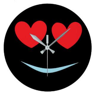 Relógio Grande Smiley face preto do divertimento com coração