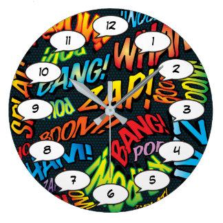 Relógio Grande Sons do pop art da banda desenhada