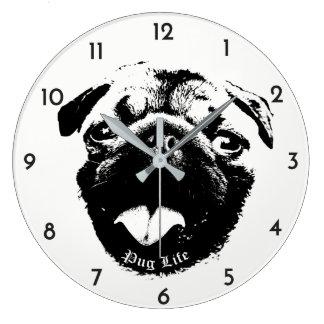 Relógio Grande Sorriso claro & simples da vida do Pug