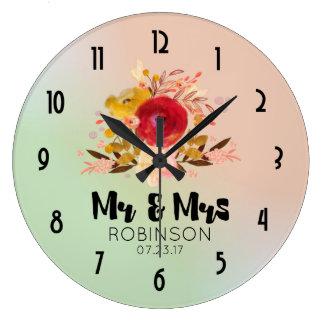 Relógio Grande Sr. floral bonito & Sra. do casamento do buquê da
