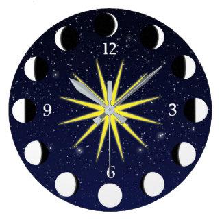 Relógio Grande Sun, fases da lua & estrelas