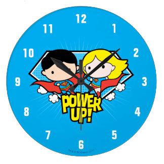 Relógio Grande Superman de Chibi & poder de Chibi Supergirl