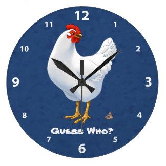 Relógio Grande Suposição engraçada que galinha do branco de Poo