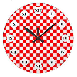 Relógio Grande Tabuleiro de damas clássico vermelho e branco por