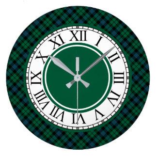 Relógio Grande Tartan verde-claro e azul do clã de MacKay