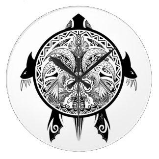 Relógio Grande Tartaruga tribal do tatuagem