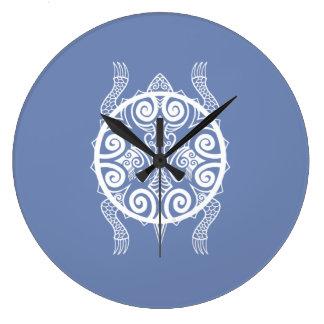 Relógio Grande Tatuagem da tartaruga do guerreiro de Tiki