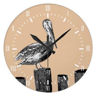 Relógio Grande Taupe litoral do pelicano com numerais romanos