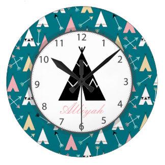 Relógio Grande Teepees na moda bonitos e nome do roteiro das