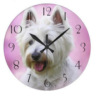 Relógio Grande Terrier branco de montanhas ocidentais adorável