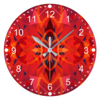 Relógio Grande Teste padrão alaranjado e vermelho do abstrato do
