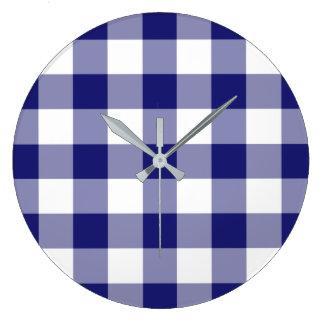 Relógio Grande Teste padrão azul e branco verificado da