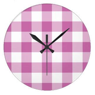 Relógio Grande Teste padrão cor-de-rosa e branco verificado