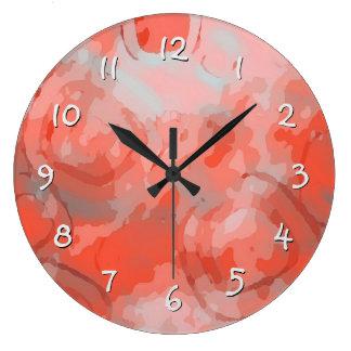 Relógio Grande Teste padrão coral dos círculos dos quadrados
