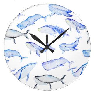 Relógio Grande Teste padrão da baleia azul da aguarela