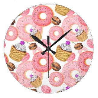 Relógio Grande Teste padrão da sobremesa da rosquinha e do