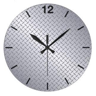 Relógio Grande Teste padrão de aço brilhante de Diamondplate