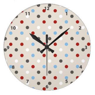 Relógio Grande Teste padrão de bolinhas colorido chique