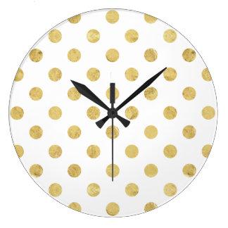 Relógio Grande Teste padrão de bolinhas elegante da folha de ouro
