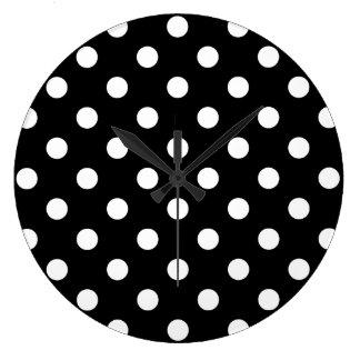 Relógio Grande Teste padrão de bolinhas preto e branco