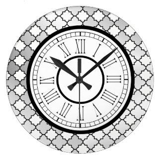 Relógio Grande Teste padrão de prata elegante de Quatrefoil