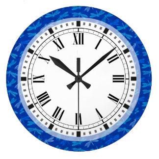 Relógio Grande Teste padrão decorativo da libélula dos azuis