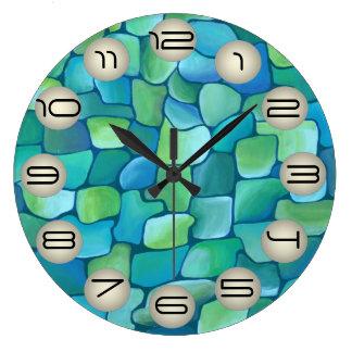 Relógio Grande Teste padrão do art deco - Aqua com círculos da