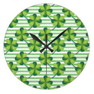 Relógio Grande Teste padrão do dia de quatro St Patrick do trevo