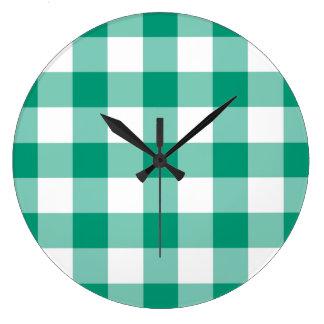 Relógio Grande Teste padrão do guingão das verificações do verde