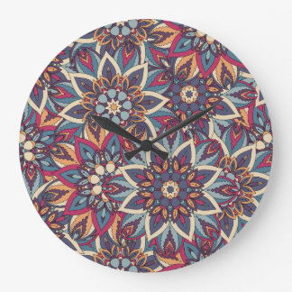 Relógio Grande Teste padrão floral étnico abstrato colorido da