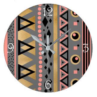 Relógio Grande teste padrão geométrico asteca tribal moderno da