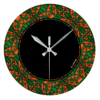 Relógio Grande Teste padrão verde e alaranjado do geco do lagarto