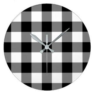 Relógio Grande Teste padrão verificado preto e branco do guingão