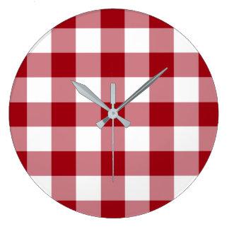 Relógio Grande Teste padrão vermelho e branco verificado do